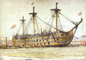 HMS Victory by W.L. Wyllie NMM: PAF1490