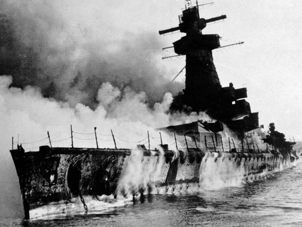 Graf Spee burning after the battle of the River PLate.